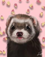 Ferret Little Bear Portrait by CierinBlue