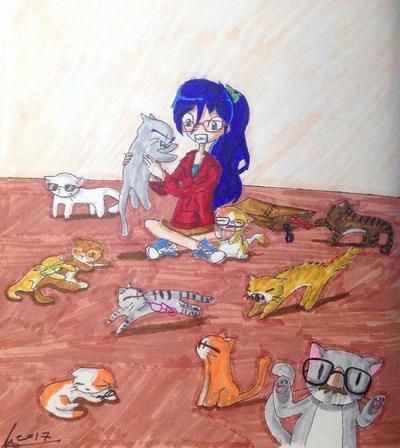 Sakura and the meganecats by SouloGuitar467