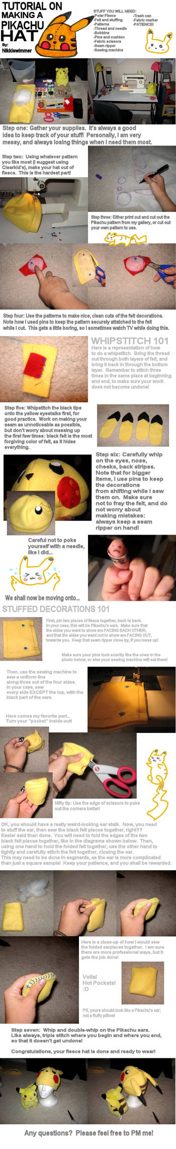 Pikachu Hat Tutorial by nikkiswimmer