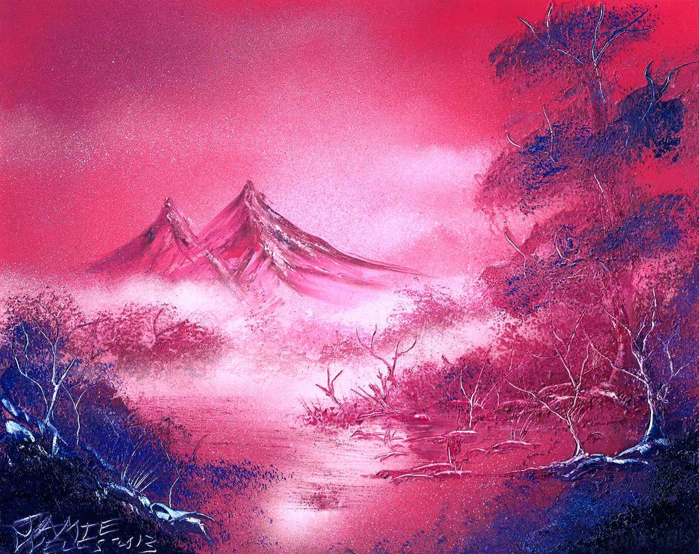 spray paint art pink scenery by visualjamie on deviantart. Black Bedroom Furniture Sets. Home Design Ideas