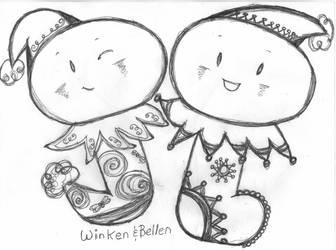 Winken and Bellen The Stocking Chibis by BakaTheIdiot
