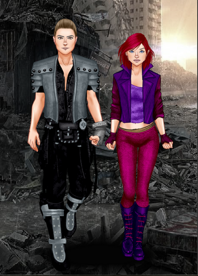 Johnny Ghost and blackrain at an ruined City by beaniesteve21
