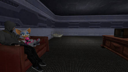 me and rouge the bat in the space stations lounge.