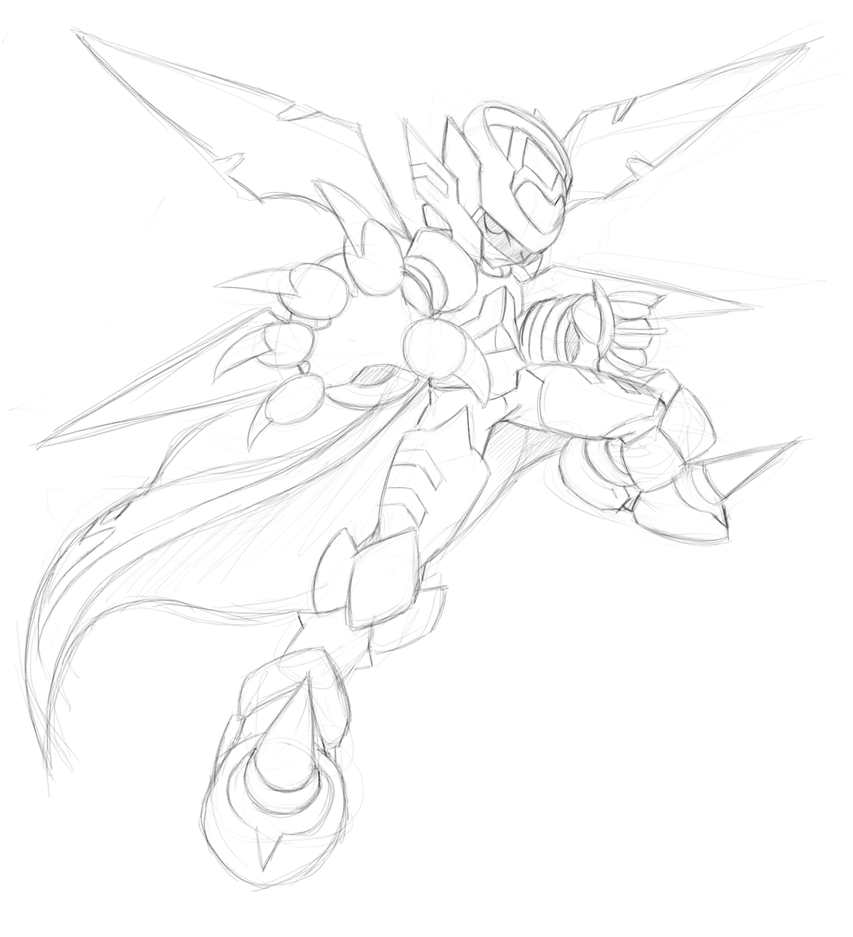 Mega Man: Type-Scythe V.2 [Sketch] by V-a-a-N