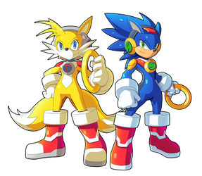 Tails.EXE and Sonic.EXE By Ultimatemaverickx by V-a-a-N