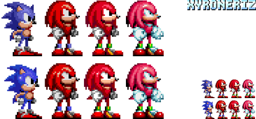 Knuckles - Sonic 1 and 2 style by Xyroneriz