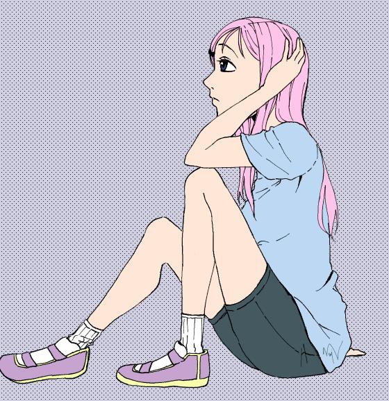 Sad sitting