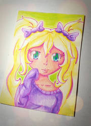 Purple Pastel Girl ATC #03