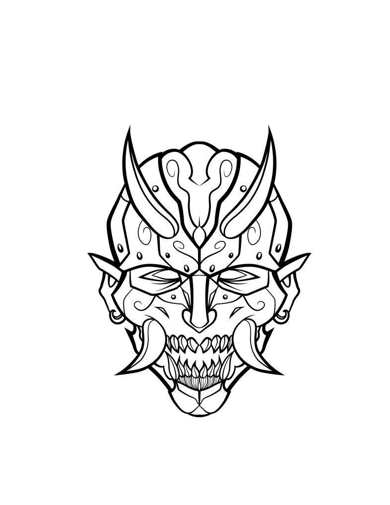 Oni Mech Mask Lineart by JaeBlaze06 on DeviantArt