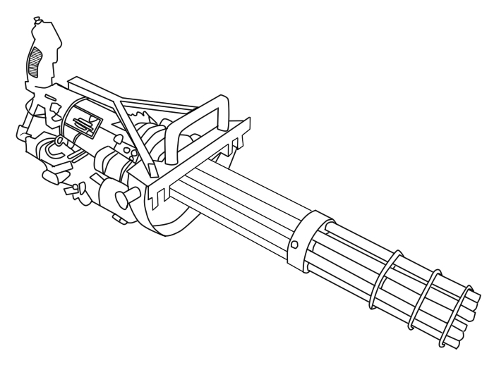 One Line Art Gun : Chain gun lineart by dkim on deviantart