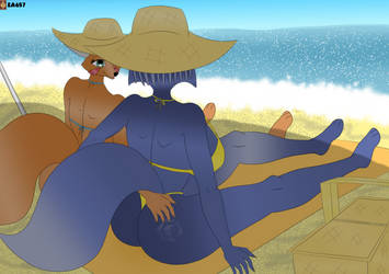 Request: Fara Phoenix And Krystal Fox In The Beach by ea657