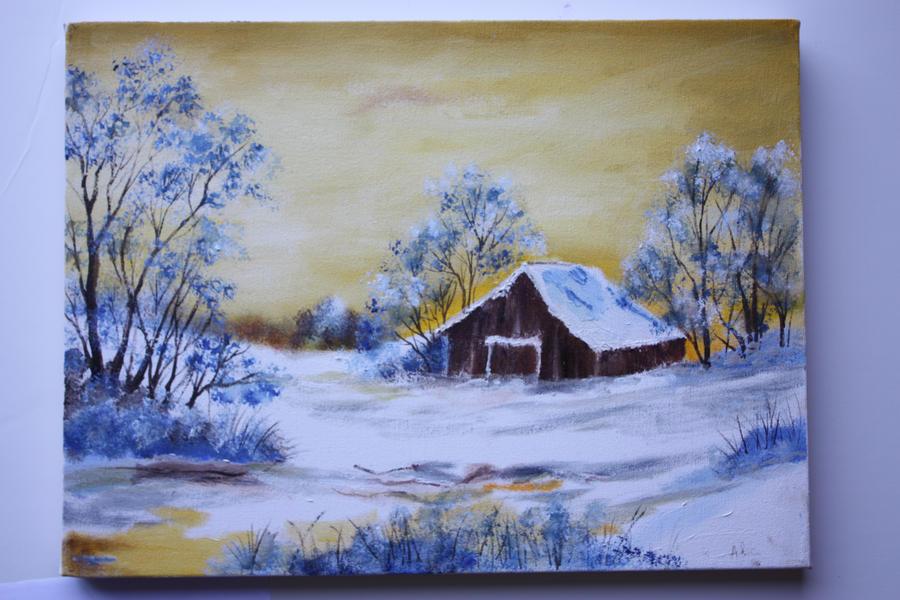 Snowy cabin by Auzureii