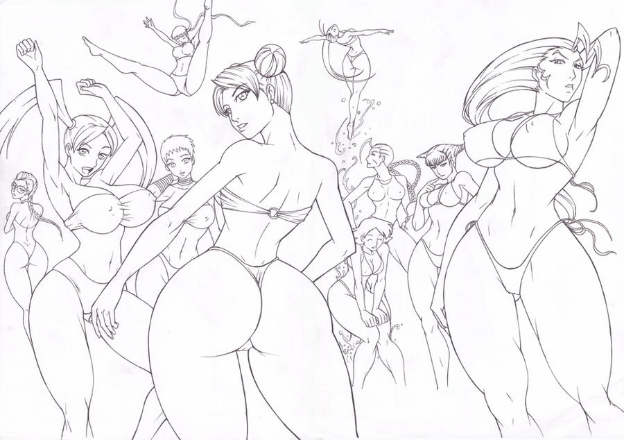 Street Fighter Girls Lineart by Osmar-Shotgun