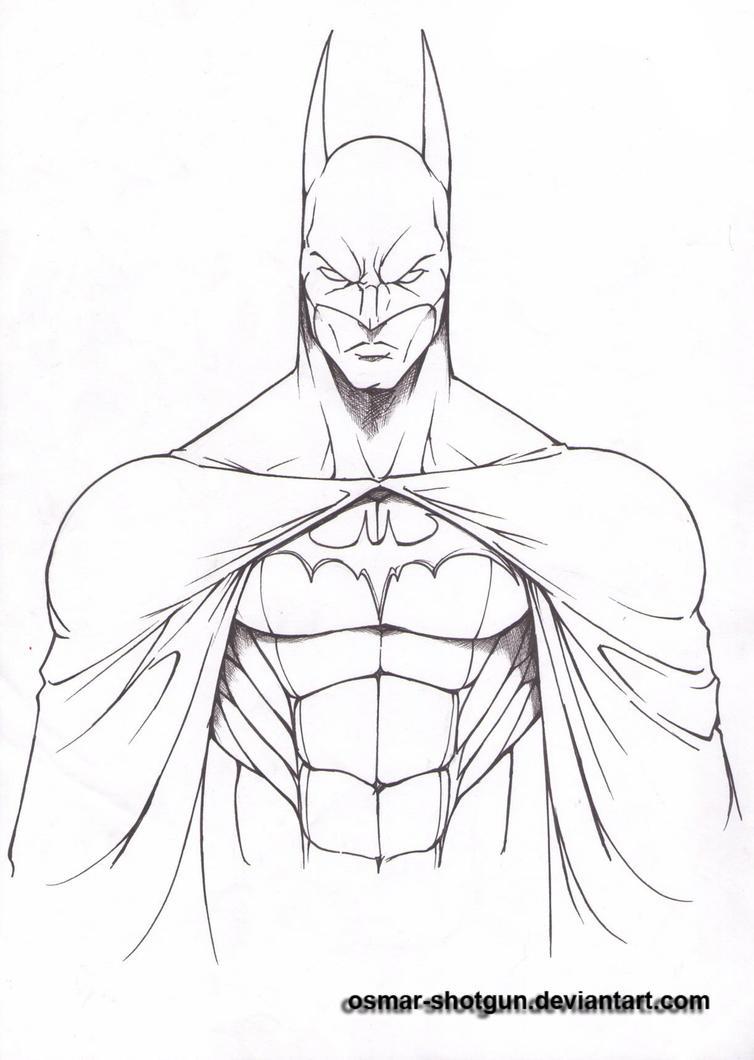 Line Drawing How To : Batman line art by osmar shotgun on deviantart