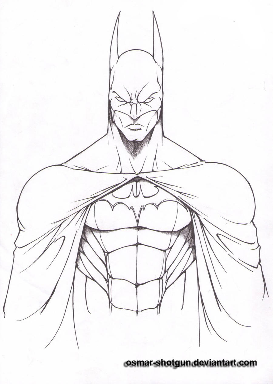 Line Art Drawing Easy : Batman line art by osmar shotgun on deviantart