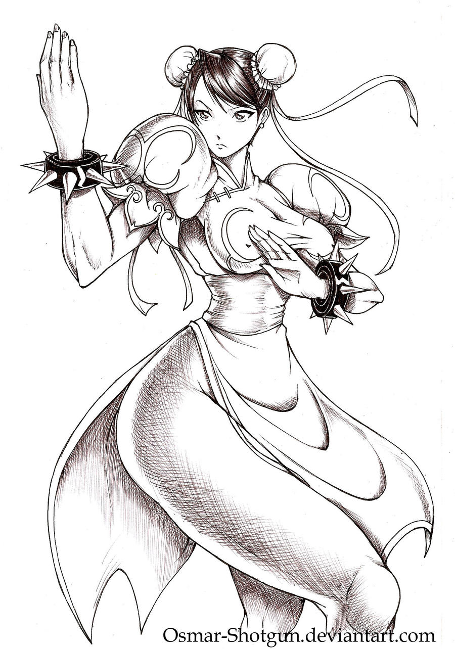 Chun li ink pen by Osmar-Shotgun