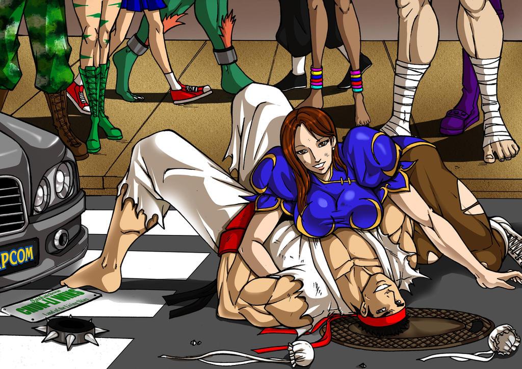 Commission:Ryu VS Chun Li by Osmar-Shotgun