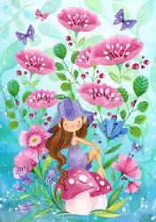 Pink Flower Field by Tieneke