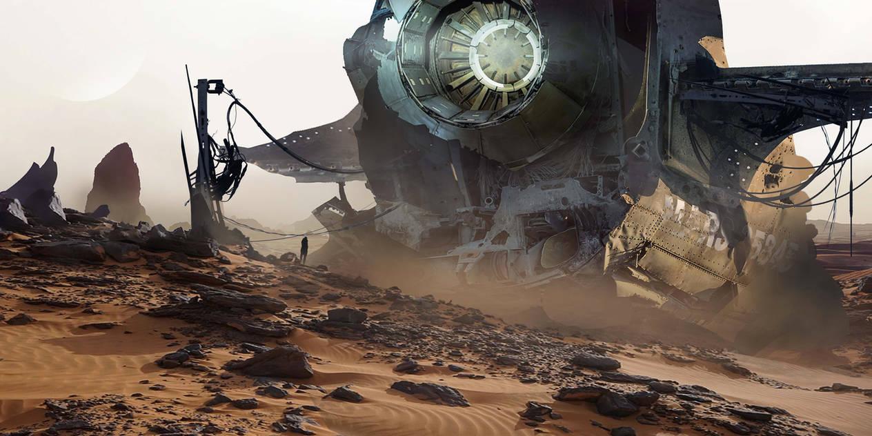 Spaceship Crash - Digital Matte Painting