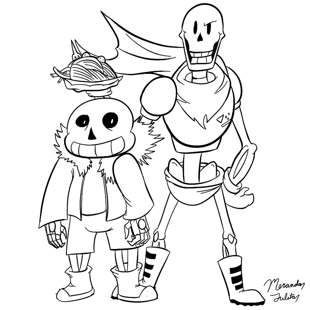 sans and papyrus coloring pagedragonfire1000 on deviantart