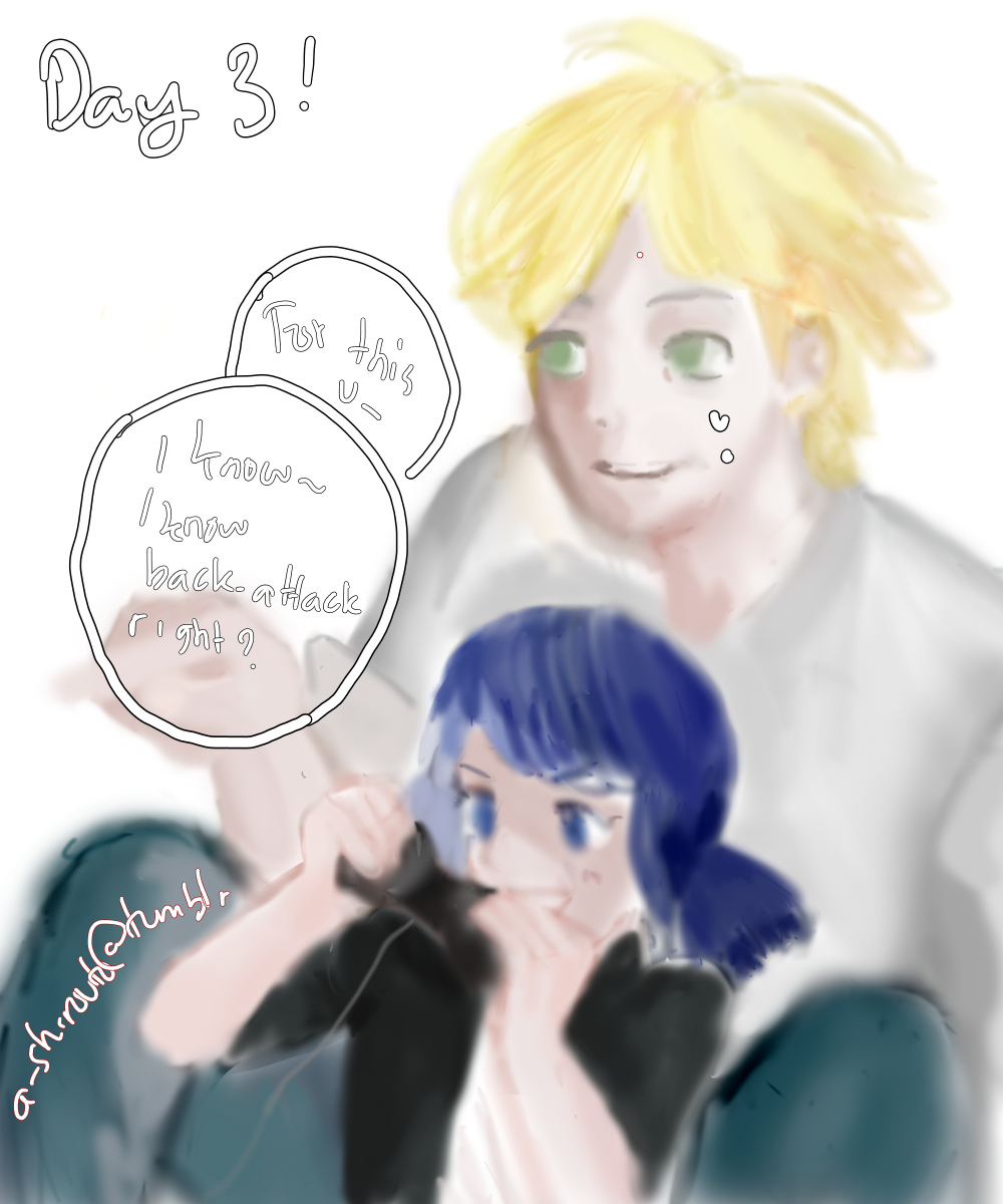 Day 3 - Playing game! Adrien and Little Marinette by a-shirouto