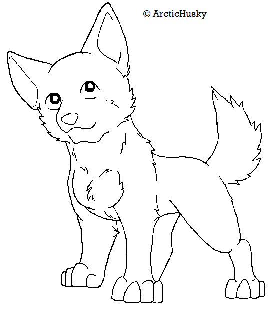 Line Drawing Dog : Free dog lineart by arctichuskie on deviantart