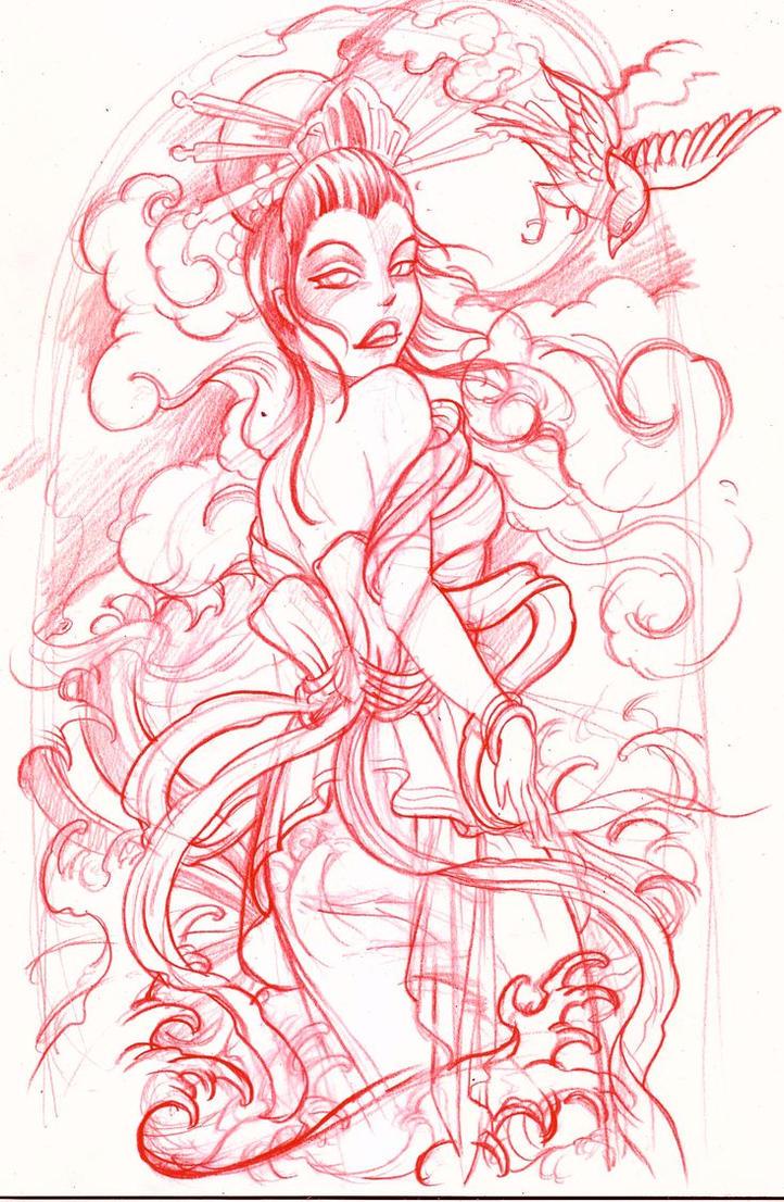 geisha sketch by mojoncio