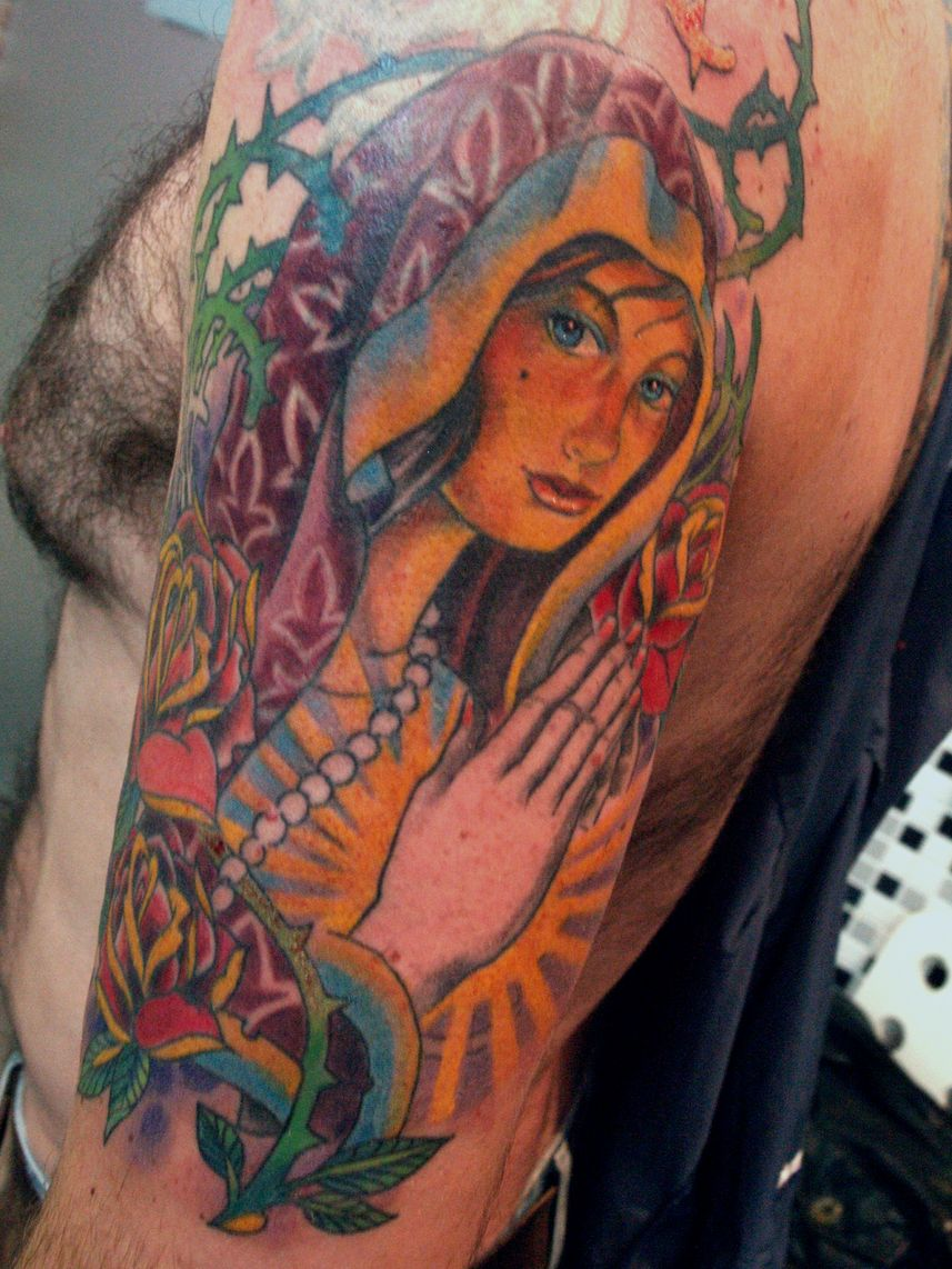 virgin mary tattoo by mojoncio