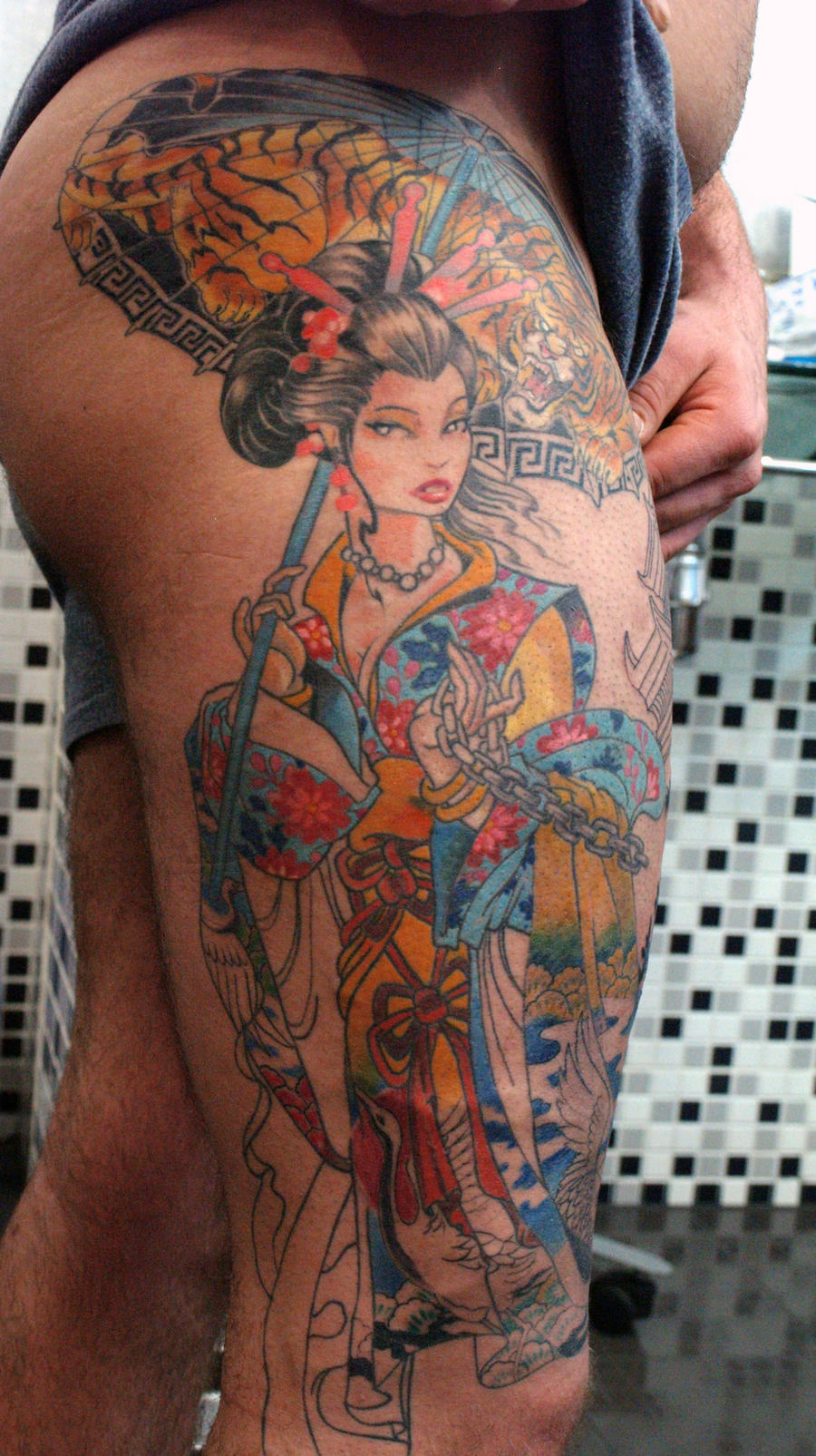 Geisha tattoo elegant geisha tattoo picture - Another Colorful And Effective Geisha Well Positioned Along A Torso It S A Great Spot
