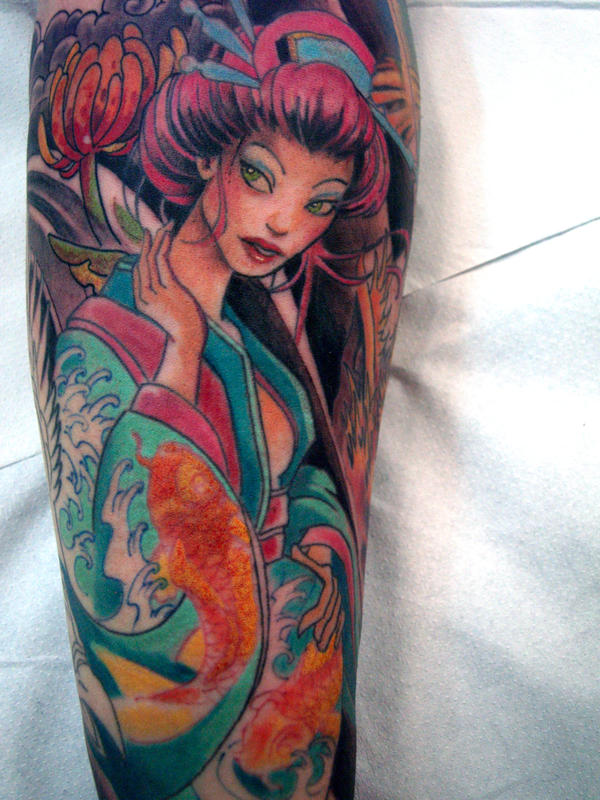 geisha tattoo 11 in progress by mojoncio