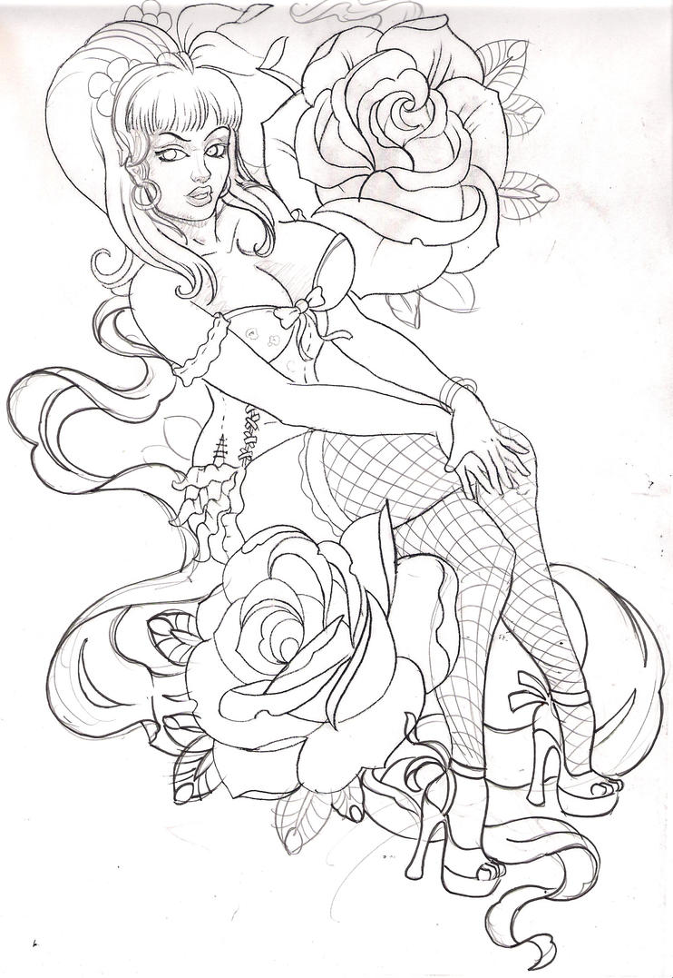 pinup sketch by mojoncio on deviantart