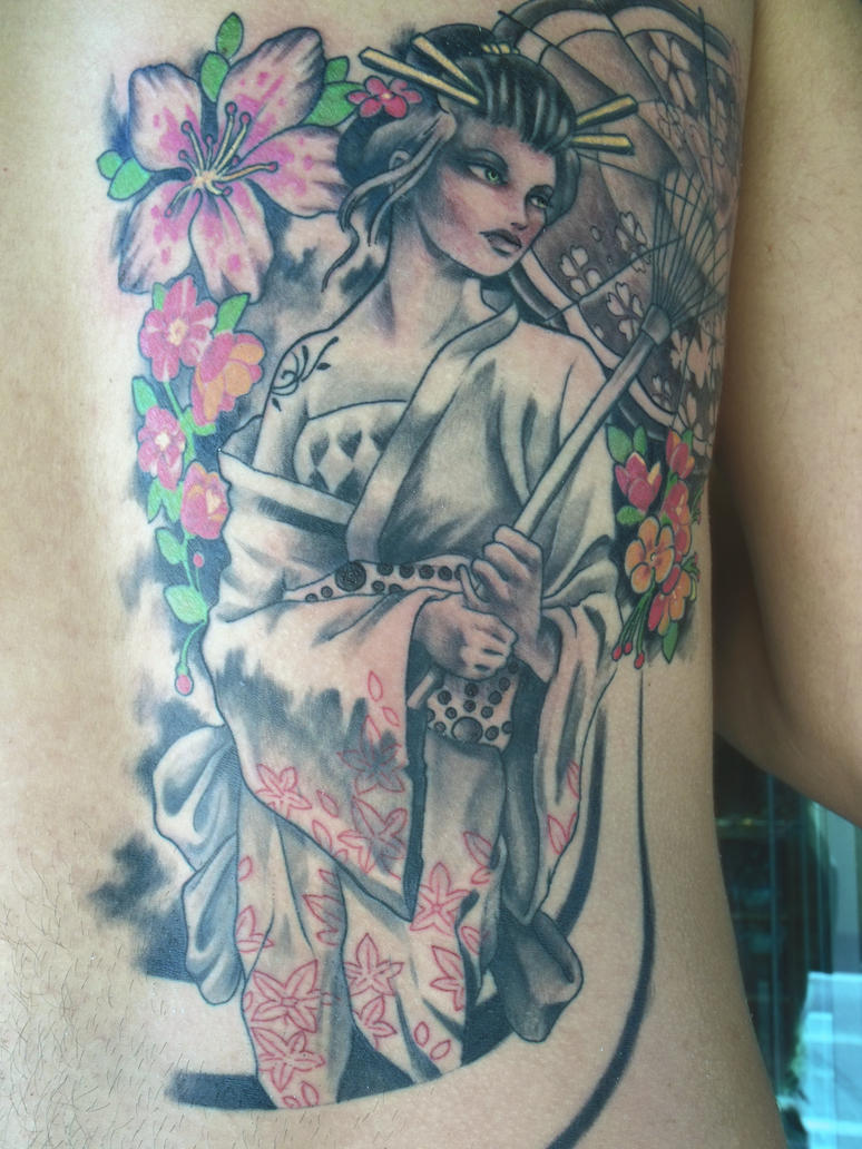 Back Piece Japanese Geisha Tattoo Picture 3
