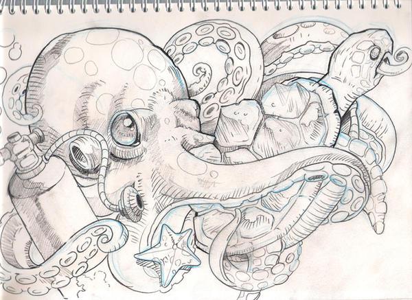 sea stuff tattoo sketch