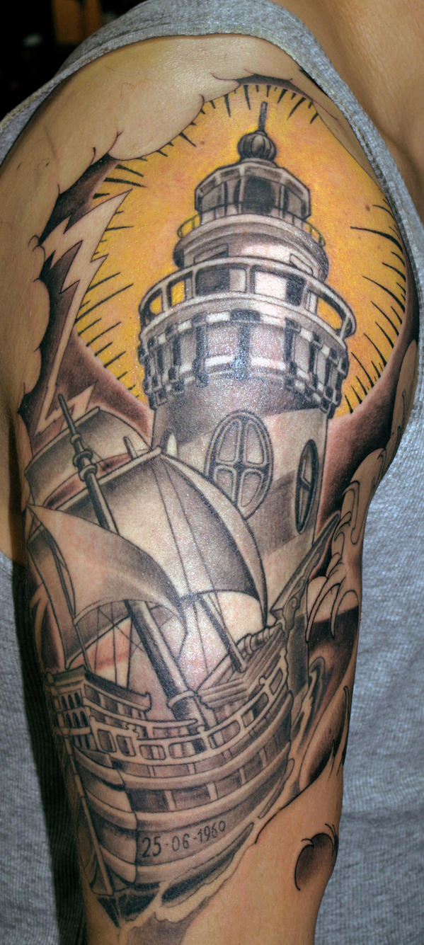 lighthouse and boat WIP by mojoncio