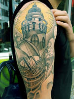 lighthouse and boat finish by mojoncio