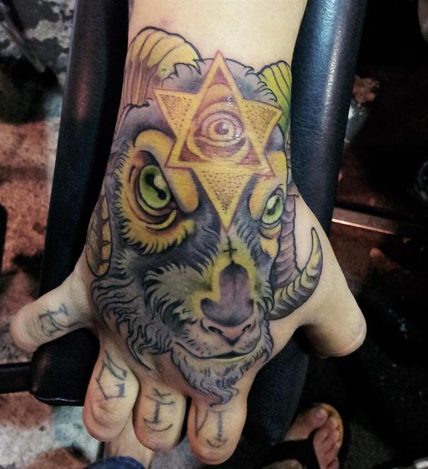 evil goat tattoo by mojoncio