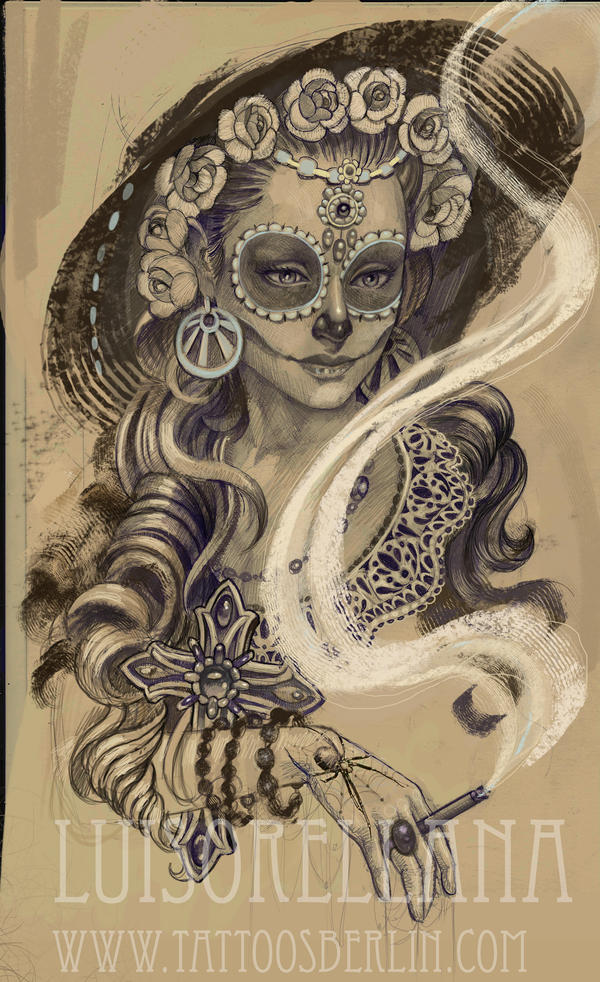 day of the dead girl tattoo by mojoncio on deviantart. Black Bedroom Furniture Sets. Home Design Ideas