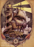 ship and lighthouse tattoo design
