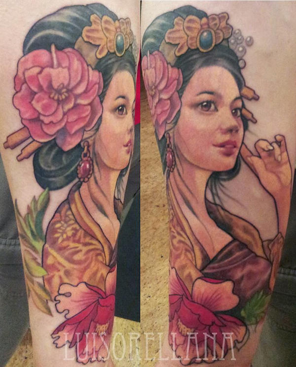 Geisha Face Tattoo Designs