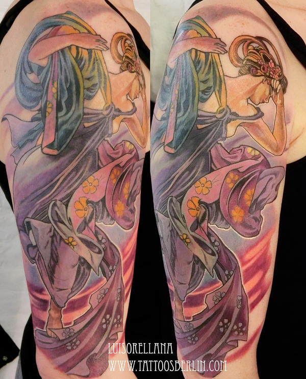 alphonse mucha tattoo by mojoncio