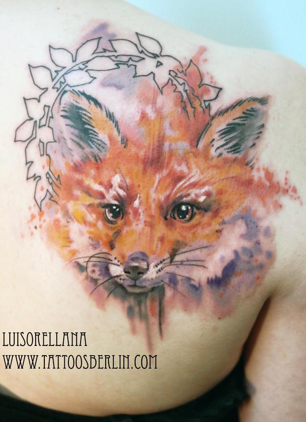 watercolour fox tattoo by mojoncio