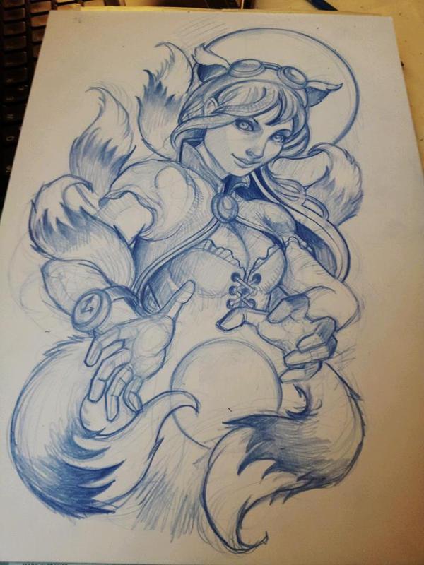 ahri tattoo sketch by mojoncio