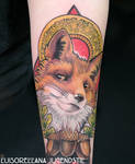 art nouveau fox tattoo