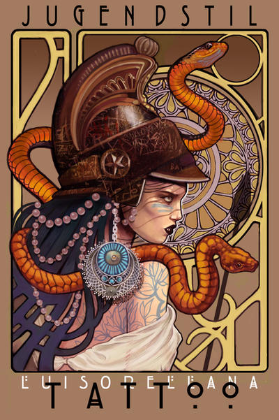 art nouveau atenea tattoo banner by mojoncio