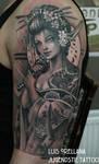 geisha tattoo black and grey