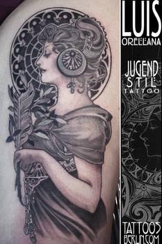 art nouveau tattoo Alphonse mucha