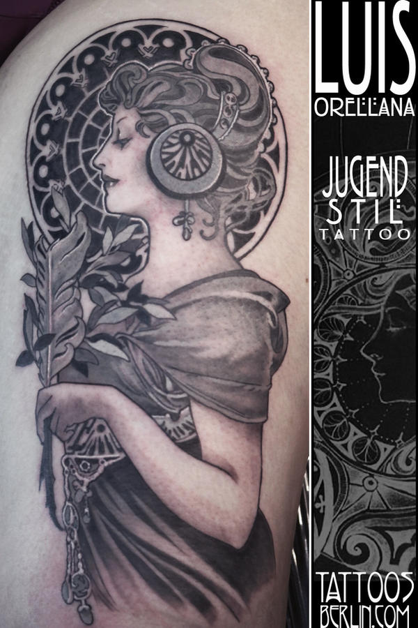art nouveau tattoo Alphonse mucha by mojoncio