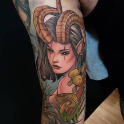 Forest goddess tattoo by mojoncio