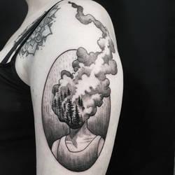 Burning forest head tattoo by mojoncio