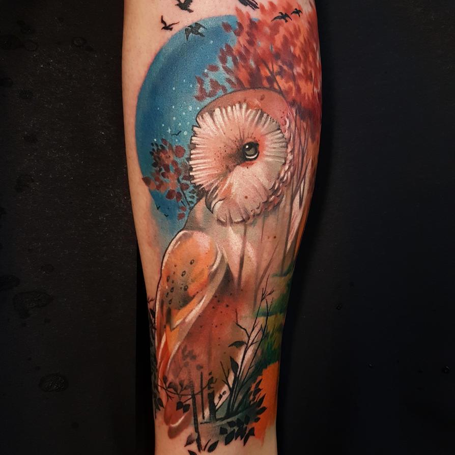 Barn Owl tattoo by mojoncio
